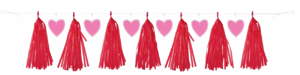 Red Tassel Garland with Heart Cut Outs
